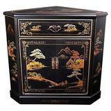 Oriental Furniture Japanese Corner Cabinet - Black Landscape