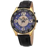Joshua & Sons Men's Swiss Quartz Diamond Watch - Black Mother-of-Pearl Dial and Crystal Filled Yellow Gold Bezel on Black Embossed Alligator Pattern Leather Strap - JS-17