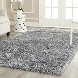 Safavieh Malibu Shag Collection MLS431S Handmade Solid 1.4-inch Thick Area Rug, 7' x 7' Square, Silver