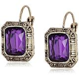 """1928 Jewelry """"Deep Siberian"""" Gold-Tone Amethyst Square Faceted Drop Earrings"""