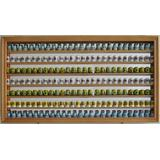 Large 189 Thimble Display Case Cabinet Wall Shadow Box, with Mirrored Back (Oak Finish)