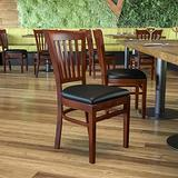 Flash Furniture HERCULES Series Vertical Slat Back Mahogany Wood Restaurant Chair - Black Vinyl Seat