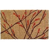 """Entryways 1002S Winter Berries Handmade, Hand-Stenciled, All-Natural Coconut, 18""""X30"""", Multicolor"""