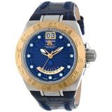 Invicta Mens Mid Size Subaqua Sport Swiss Made Gold Tone Bezel Blue Leather Strap Watch 10877
