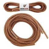 """Ironlace Unbreakable Extra Heavy Duty Round Boot Laces Shoelaces 108"""", Sport, Brown"""