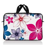 """Laptop Skin Shop 16"""" - 17.4"""" Neoprene Laptop Sleeve Bag Carrying Case with Handle - White Pink Blue Flower Leaves"""