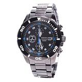 Seiko Men's SNDE01P1 Chronograph Black Dial Stainless Steel Watch