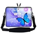 Meffort Inc 17 17.3 inch Neoprene Laptop Sleeve Bag Carrying Case with Hidden Handle and Adjustable Shoulder Strap - Purple Blue Butterfly