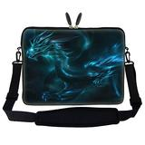 Meffort Inc 17 17.3 inch Neoprene Laptop Sleeve Bag Carrying Case with Hidden Handle and Adjustable Shoulder Strap - Blue Dragon