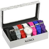 XOXO Women's Analog Watch with Silver-Tone Case, White Dial, 7 Interchangeable Bands Included - Official XOXO Woman's Silver-Tone Watch, Silicone Buckle Straps - Model: XO9043