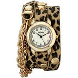 XOXO Women's XO5624 Cheetah Patterned Band with Chains Accent Double Wrap Watch