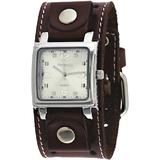 Nemesis #BSTH516S Men's Dark Brown Wide Leather Cuff Band Analog Silver Dial Watch