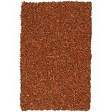Pelle Leather Shag Rug, 5 by 8-Feet, Copper