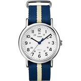 Timex Men's Weekender Slip Through Quartz Watch with White Dial Analogue Display and Blue Nylon Strap T2P142