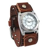 Nemesis #BSTH012S Men's Signature Silver Dial Brown Wide Leather Cuff Watch