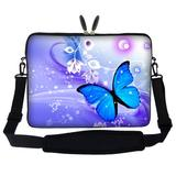 Meffort Inc 15 15.6 inch Neoprene Laptop Sleeve Bag Carrying Case with Hidden Handle and Adjustable Shoulder Strap - Blue Purple Butterfly
