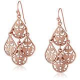 1928 Jewelry Rose Gold-Tone Filigree Drop Wire Earrings