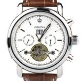 Orkina Silver Stainless Steel Chronograph Skeleton Mechanical Brown Leather Strap Wrist Watch