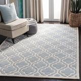 Safavieh Chatham Collection CHT727E Handmade Geometric Premium Wool Area Rug, 4' x 6', Grey / Ivory