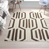 George Oliver Petya Geometric Flatweave Wool/Cotton Cream/Beige/Brown Area Rug Wool/Cotton in White, Size 60.0 H x 36.0 W x 0.25 D in | Wayfair