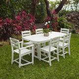 POLYWOOD® La Casa Café 7 Piece Dining Set Plastic in White, Size 29.0 H x 72.0 W x 37.0 D in | Wayfair PWS131-1-WH
