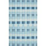 Country Living™ by Surya Happy Plaid Handwoven Wool Blue Area RugWool in Blue/Brown, Size 132.0 H x 96.0 W x 0.16 D in   Wayfair HC5803-811