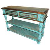 """New World Trading Valencia 59"""" Solid Wood Console Table Wood in Blue, Size 40.0 H x 59.0 W x 20.0 D in 