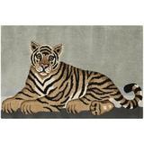 Safavieh Wilderness Handmade Tufted Wool Light Grey/Tan Area Rug Wool in White, Size 36.0 H x 24.0 W x 0.63 D in | Wayfair WLD203A-2