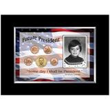 American Coin Treasures Future President 5 Coin Desk Framed Memorabilia Metal in Blue/Brown/Red, Size 7.19 H x 9.13 W x 0.5 D in | Wayfair 11890