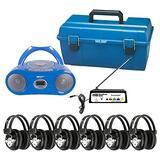 HamiltonBuhl Wireless 6 Person Listening Center with Bluetooth, CD/Cassette/FM Boombox, Blue