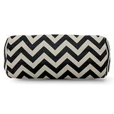 """Majestic Home Goods Black Chevron Indoor/Outdoor Round Bolster Pillow 18.5"""" L x 8"""" W x 8"""" H"""