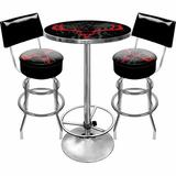 Trademark Global Hunt Skull Game Room 3 Piece Pub Table SetWood/Metal in Black/Brown/Gray, Size 42.0 H x 27.375 W x 27.375 D in | Wayfair