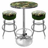 Trademark Global Hunt Camo Game Room 3 Piece Pub Table SetWood/Metal in Brown/Gray, Size 42.0 H x 27.375 W x 27.375 D in | Wayfair HUNT9800-CAMO