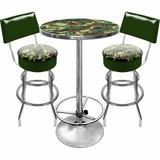 Trademark Global Hunt Camo Game Room 3 Piece Pub Table SetWood/Metal in Brown/Gray/Green, Size 42.0 H x 27.375 W x 27.375 D in | Wayfair