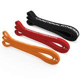 Rubberbanditz- Pull Up Assistance Bands Set of 3 Functional Fitness - for Men & Women - Elastic Pull up Bands for Working Out & Fitness & Stretching - Pull up Assist Band | Tension Range 5-100 lbs