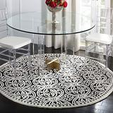 Safavieh Cambridge Collection CAM123E Handmade Moroccan Premium Wool Area Rug, 6' x 6' Round, Black / Ivory