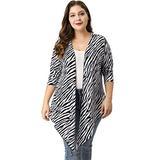 Kaia Women's Plus Size Zebra Prints Open Front Drape Cardigan White Black 1X