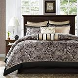Madison Park Aubrey Cal King Size Bed Comforter Set Bed In A Bag - Black, Champagne , Paisley Jacquard – 12 Pieces Bedding Sets – Ultra Soft Microfiber Bedroom Comforters
