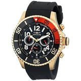 Invicta Men's 13729 Pro Diver Chronograph Black Carbon Fiber Dial Black Polyurethane Strap Watch