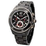Time100 Men's Multifunction Three-subdial Sapphire Mirror Ceramic Black Dial Watch