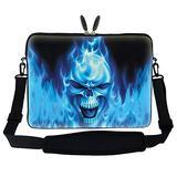 Meffort Inc 17 17.3 inch Neoprene Laptop Sleeve Bag Carrying Case with Hidden Handle and Adjustable Shoulder Strap - Blue Skull Face