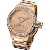 TW Steel Canteen Unisex Quartz Watch with Rose Gold Dial Analogue Display and Rose Gold Stainless Steel Plated Bracelet TW305