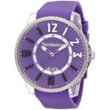 Tendence Slim- Pop Unisex Quartz Watch with Purple Dial Analogue Display and Purple Plastic or PU Strap TG131002