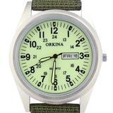 Orkina Mens Military Light Green Dial Quartz Nylon Fabric Band Date Day Wrist Watch