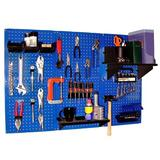"Wall Control Pegboard Standard Tool Storage 32"" H x 48"" W Kit Metal in Blue, Size 32.0 H x 48.0 W x 9.0 D in   Wayfair 30-WRK-400 BUB"
