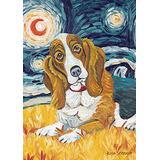 Toland Home Garden Van Growl Basset Hound 28 x 40 Inch Decorative Puppy Dog Portrait Starry Night House Flag