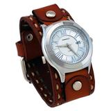 Nemesis #LBDT099S Men's Roman Collection Silver Dial Wide Brown Leather Cuff Band Watch