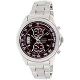 Seiko Red Dial Chronograph Stainless Steel Mens Watch SNN253