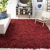 Safavieh Leather Shag Collection LSG511D Hand-Knotted Modern Leather Area Rug, 8' x 8' Square, Red