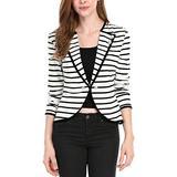 Allegra K Women's Notched Lapel Button Decor Lightweight Striped Blazer Jacket Black White XL (US 18)
